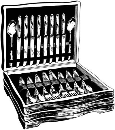 dinners: Flatware In Wooden Case Illustration