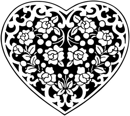 flowered: Flowered Heart Motif Illustration