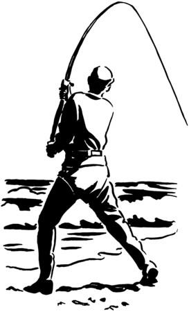 漁師を飛ばす  イラスト・ベクター素材