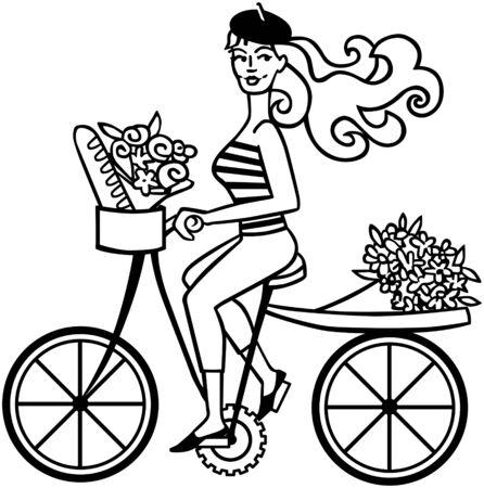 boinas: Chica franc�s en la bici