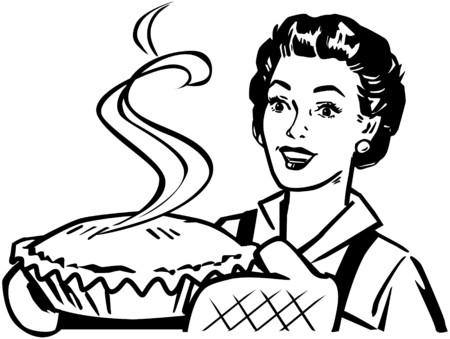 vintage lady: Vers gebakken Pie Stock Illustratie