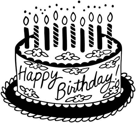Happy Birthday Cake Ilustrace