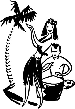 hot woman: Hawaiian Couple Illustration