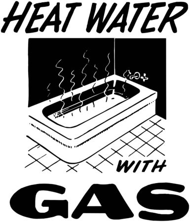 slogan: Heat Water With Gas Illustration
