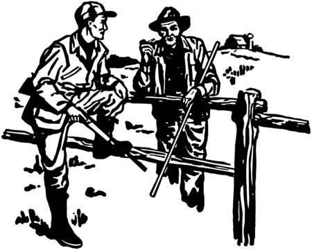 stalking: Hunter And Farmer Chatting Illustration