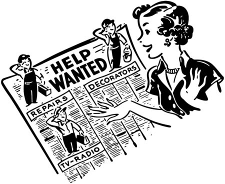 Gal Reading Help Wanted Ads Ilustrace