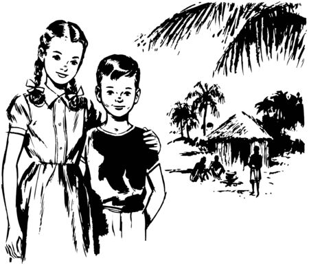 thatched: Girl And Boy In Tropics