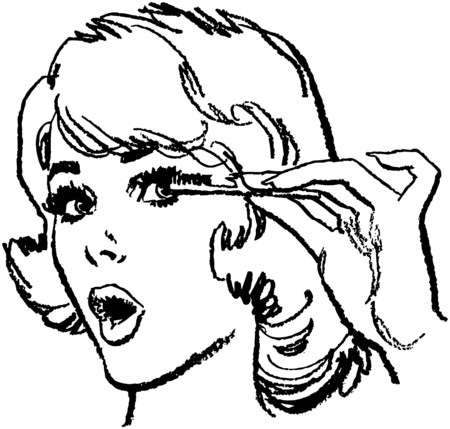 preening: Girl Doing Eyelashes Illustration