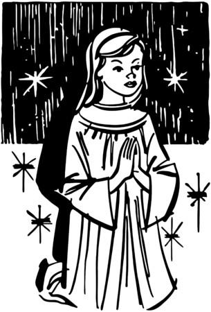 catholic mass: Girl Kneeling In Prayer