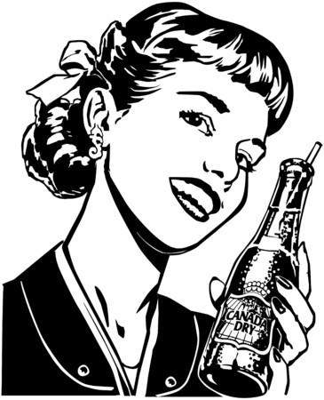 advertise: Girl With Soda Illustration