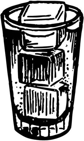 cubos de hielo: Vaso con cubitos de hielo Vectores