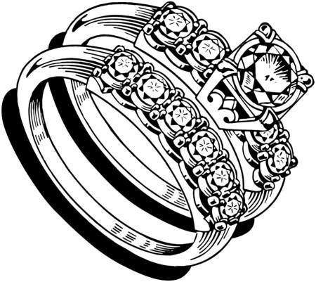 diamond clip art: Ladies Wedding Ring Set 1 Illustration