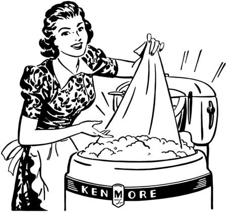 senhora: Senhora que faz a lavanderia Ilustração