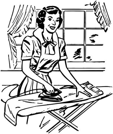 gals: Lady Ironing Illustration