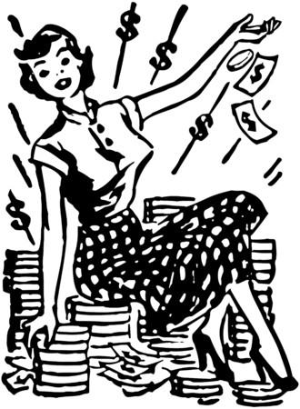 Señora en la pila de efectivo Foto de archivo - 28337682
