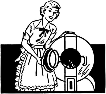 m�quina: Se�ora con Lavadora