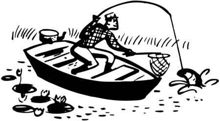 Man Catching Fish In Boat Vector