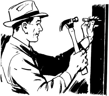 Man Hammering Nail