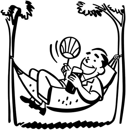 Man Lounging In Hammock Vector