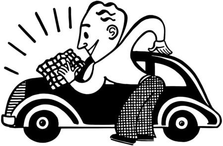 Man Polishing Car Vector
