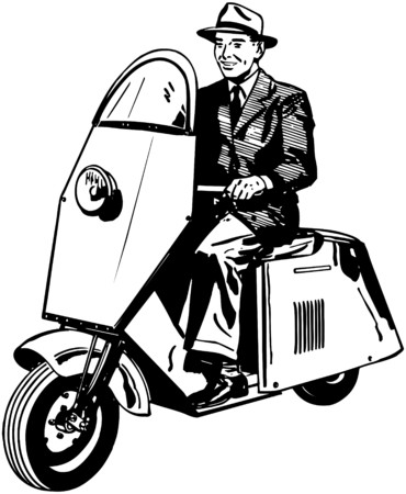 motorists: Man Riding Scooter