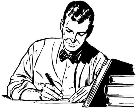 signing papers: Man Studying