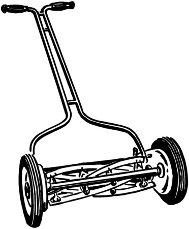 Manual Lawn Mower Ilustrace