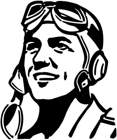 aviators: Man With Aviator Helmet Illustration