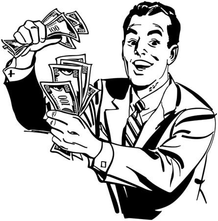 金持ち: 現金を持つ男  イラスト・ベクター素材