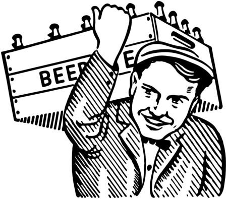 Man With Keg Of Beer Vector