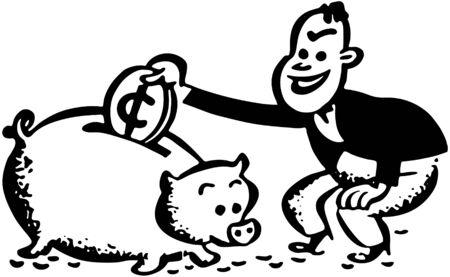 spendthrift: Man With Piggy Bank
