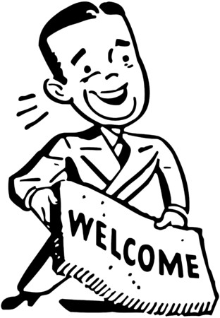 welcome mat: Man With Welcome Mat