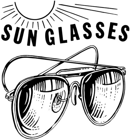 Mens Sunglasses With Sun Illustration