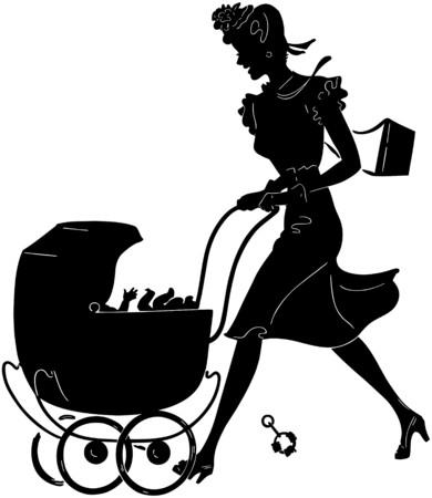 rattles: Mom Pushing Pram Silhouette