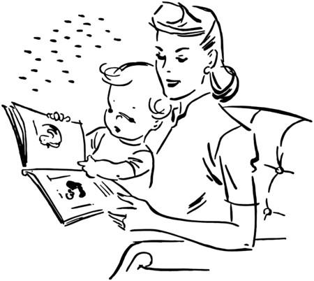baby moeder: Moeder die aan de baby Stock Illustratie