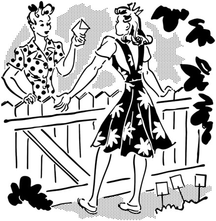 homemakers: Neighbors Chatting Over Fence Illustration