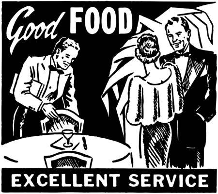 excellent service: Good Food Excellent Service Illustration