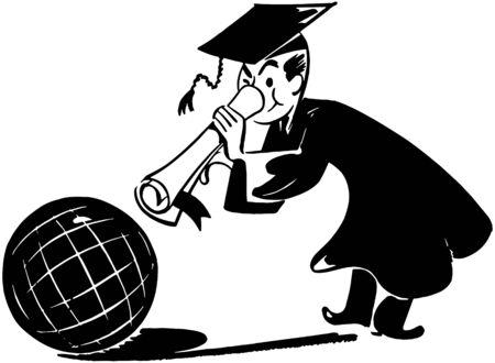Grad With Globe Vector