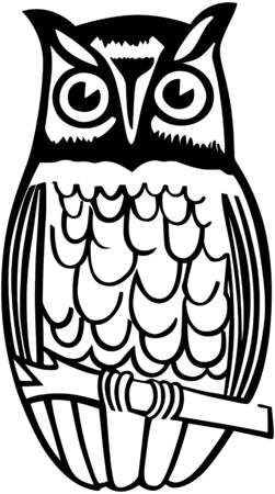Owl On Branch Vector