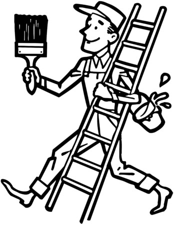 painting and decorating: Painter With Ladder Illustration