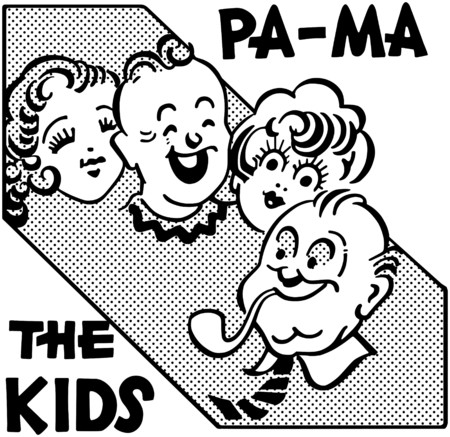 Pa Ma The Kids Vector