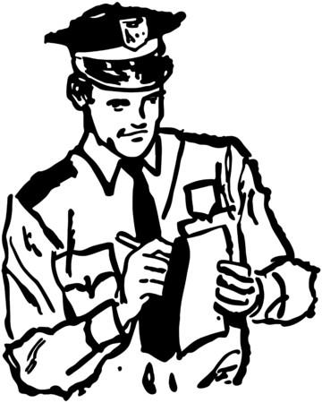 警官書くチケット  イラスト・ベクター素材
