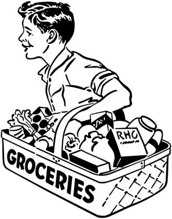 Boy Grocery Delivery Ilustración de vector
