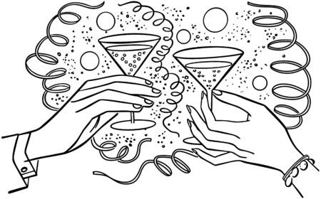Hands Toasting Drinks Vector