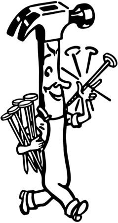 carpentry cartoon: Happy Hammer Illustration