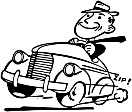 Happy Motorist Illustration
