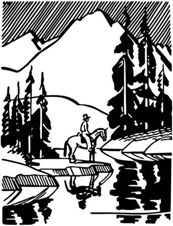 Horse Rider At Mountain Lake Illusztráció