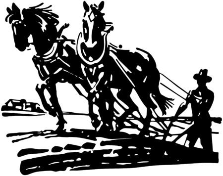 Horses Plowing Field Vector