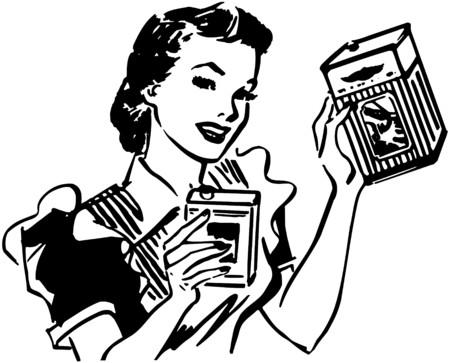 Huisvrouw Met Producten Stock Illustratie