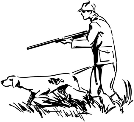 40s: Hunter With Dog Illustration
